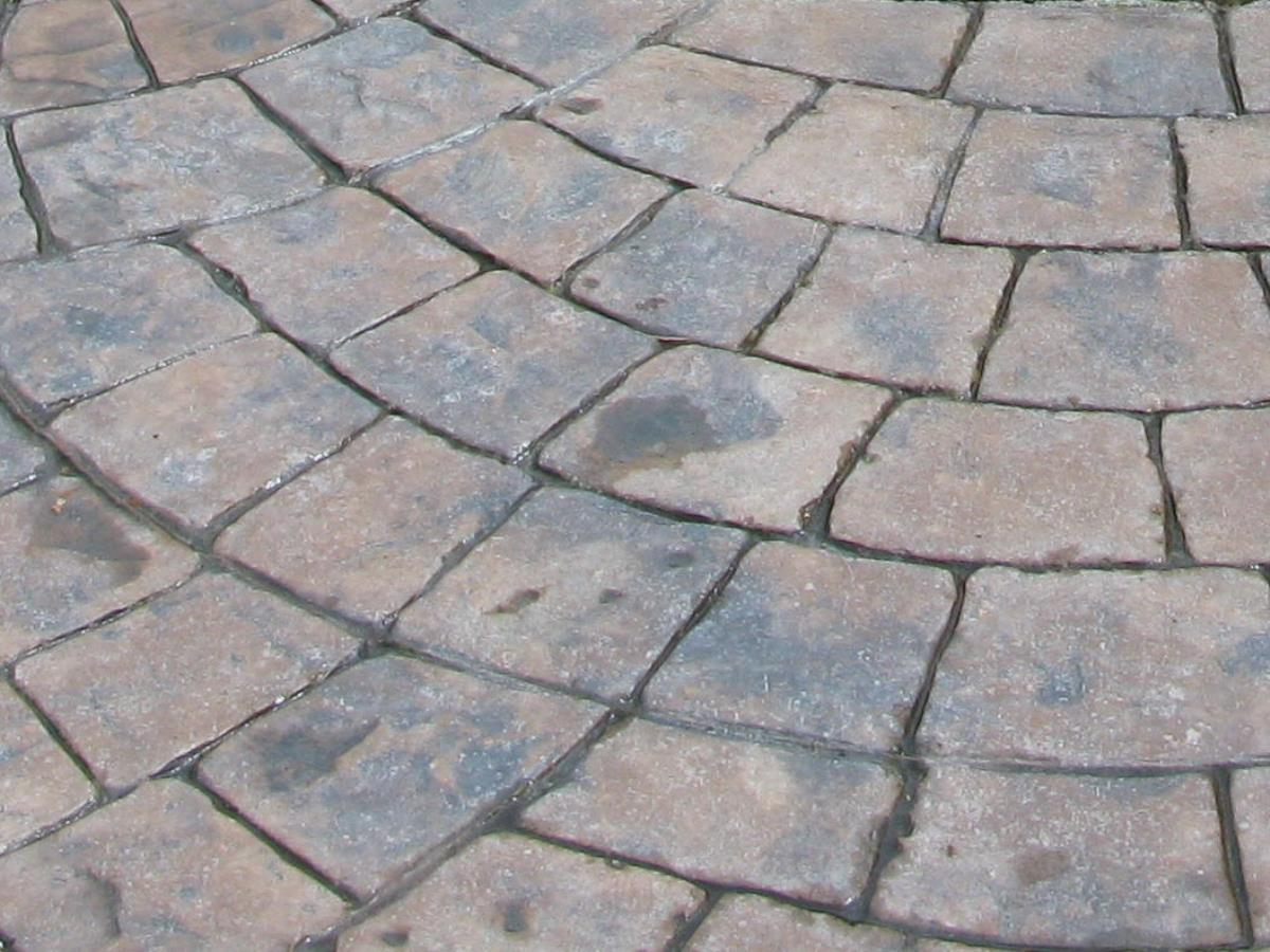Block paving styles such as European fan can all be produced using pattern imprinted concrete interlocking rubber stamping mats.